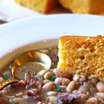 Old fashioned ham and beans with corn bread