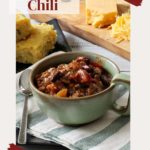 Meat and bean chili served with cornbread