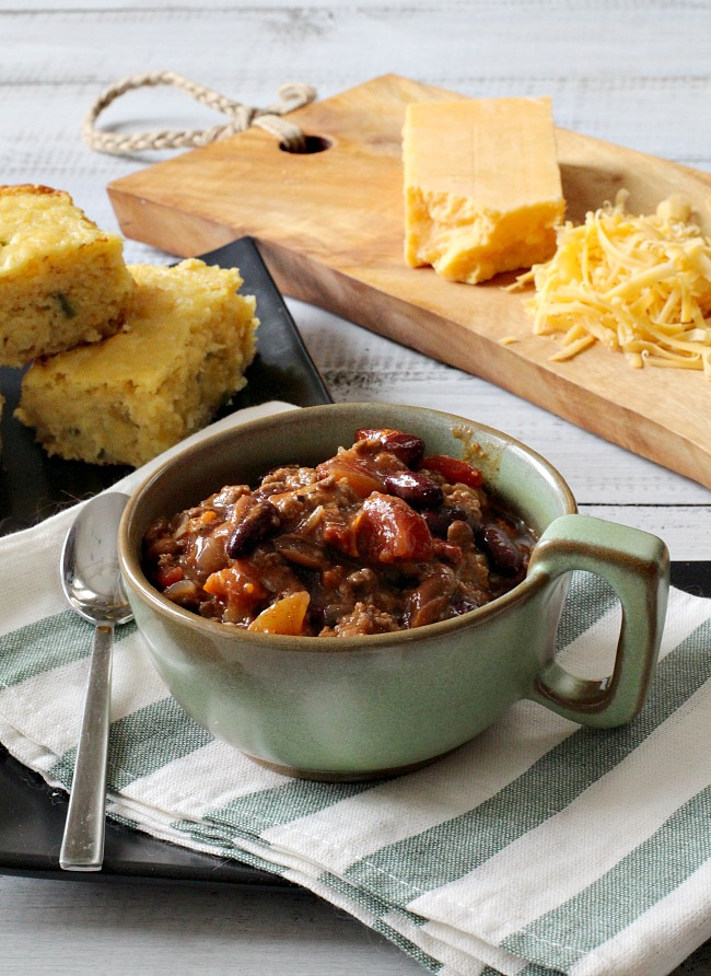 Colorado Award Winning Chili Recipe. With ground beef and sausage and lots of other goodies.