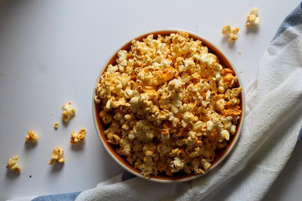 Seasoned popcorn in a popcorn bowl