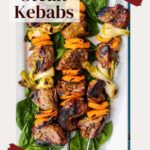 Sirloin steak kabobs with orange bell pepper and green onion