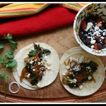 Swiss Chard Tacos with Caramelized onions.