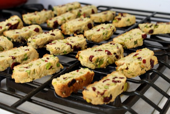 cooling homemade pistachio and cranberry biscotti.