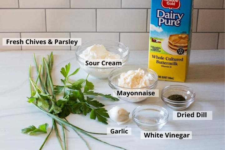 Ingredients to make homemade buttermilk ranch dressing
