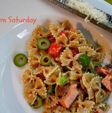Smoked Salmon pasta salad, with dill cream sauce