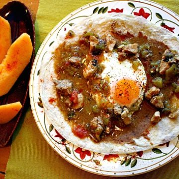 Eggs with Colorado Green Chili. A great Western Southwestern Breakfast idea.