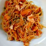 Angel hair pasta with salmon and paprika sauce