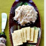Cream cheese spread made with canned chicken and ranch seasoning. Served with club crackers
