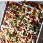 Sheet pan pizza recipe with bbq chicken and jalapano
