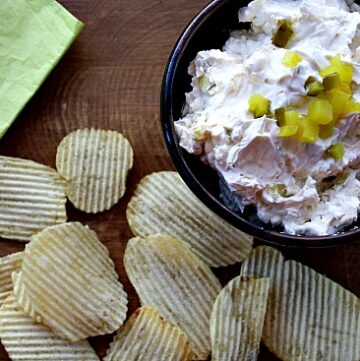 Dill Pickle Dip with Potato Chips
