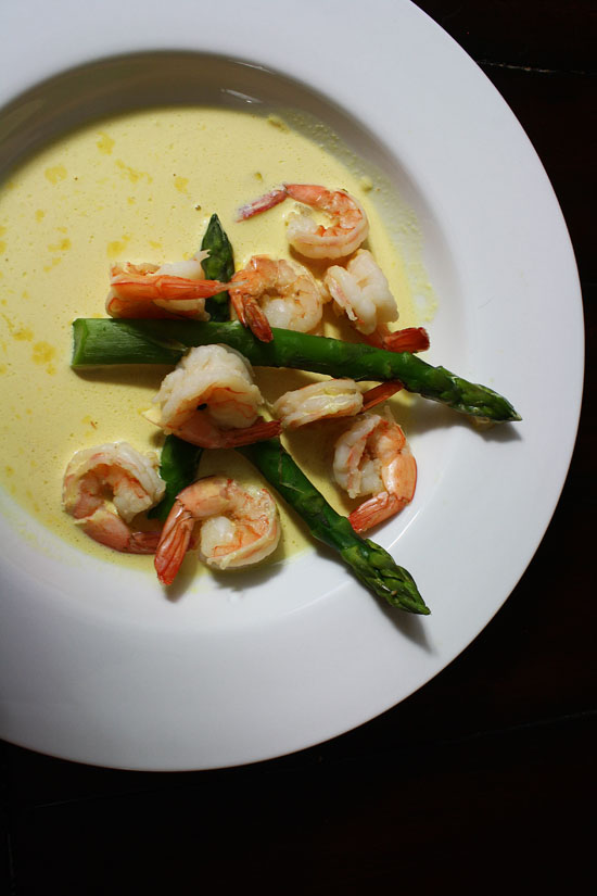 Ale Poached Shrimp in Saffron cream sauce
