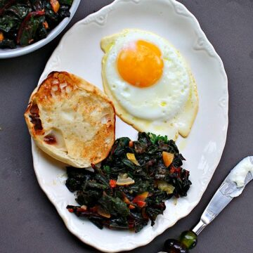 Swiss Chard Greens with fried egg. Easy and so flavorful breakfast.