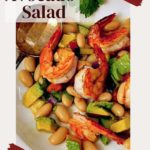 Avocado with Shrimp salad with cannellini beans, cucumber and tomato