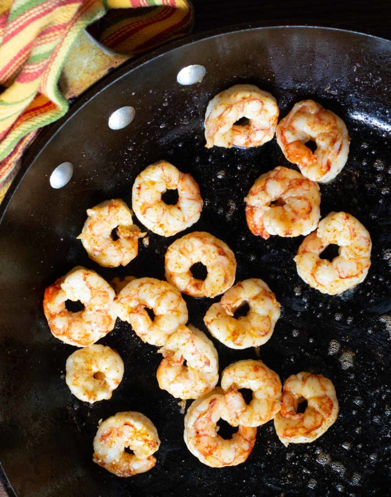 cooking shrimp in a fry pan