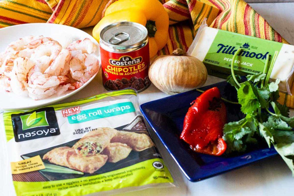 ingredients to make shrimp wonton appetizer