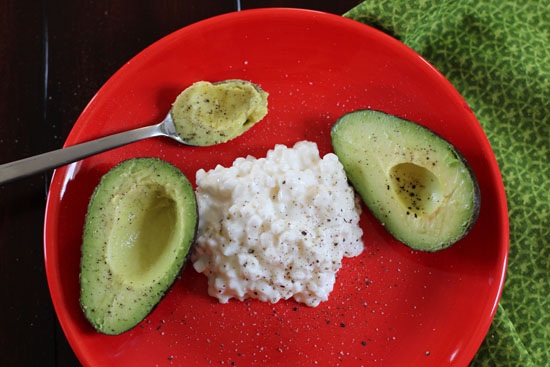 Healthy lunch with cottage cheese and avocado