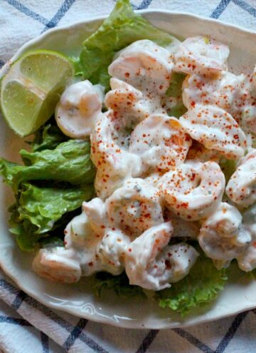 Make ahead creamy shrimp salad with celery lime and dill.