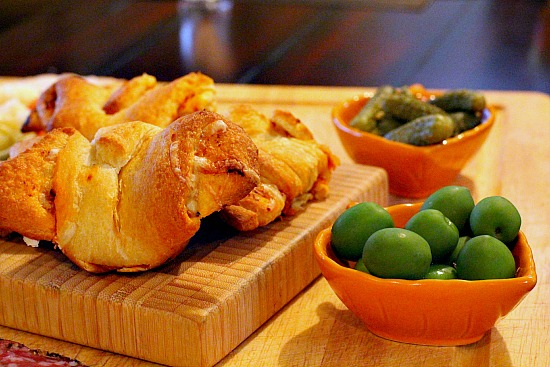 Olive and pickle appetizer plate