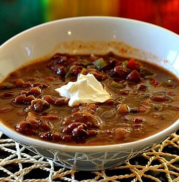 Bolita Bean and Beef Soup with red wine. Give Bolita beans a try.