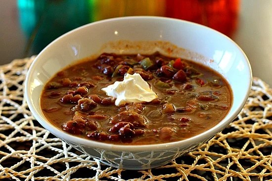 Bean and Beef Soup with red wine