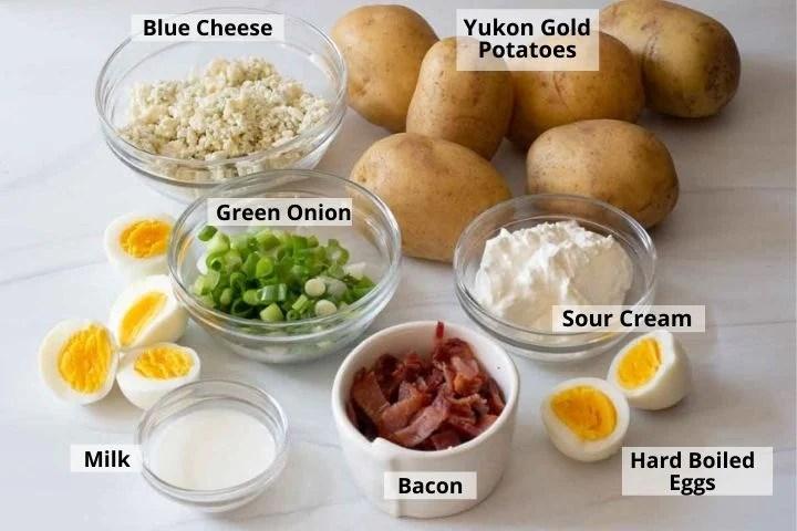 ingredients to make blue cheese potato salad