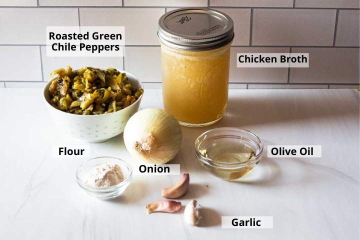 Ingredients to make Hatch Green Chile Sauce
