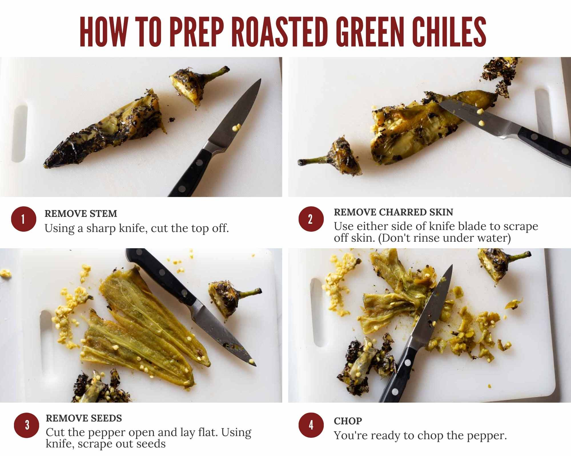 how to clean roasted chile peppers