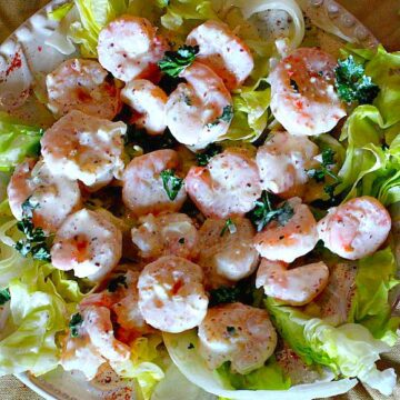 Shrimp remoulade blanc. Served on a bed of lettuce.