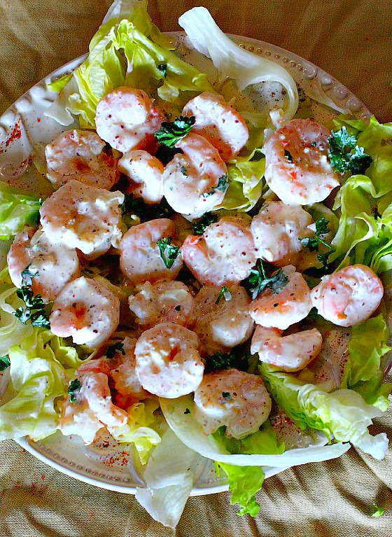 Shrimp remoulade sauce recipe. Served on a bed of lettuce.