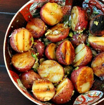 Grilled Potatoes with Basil Vinaigrette