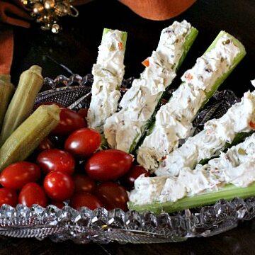 Celery sticks with green olives