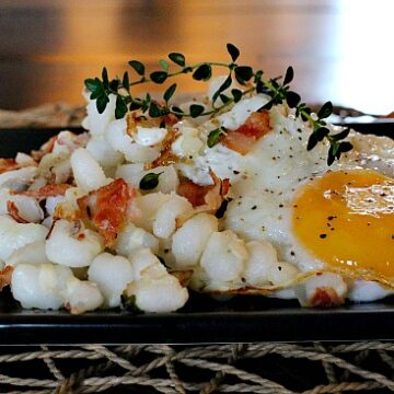 Hominy and Eggs for an easy Mexican breakfast recipe.