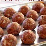 Baked Italian Meatballs on a baking sheet
