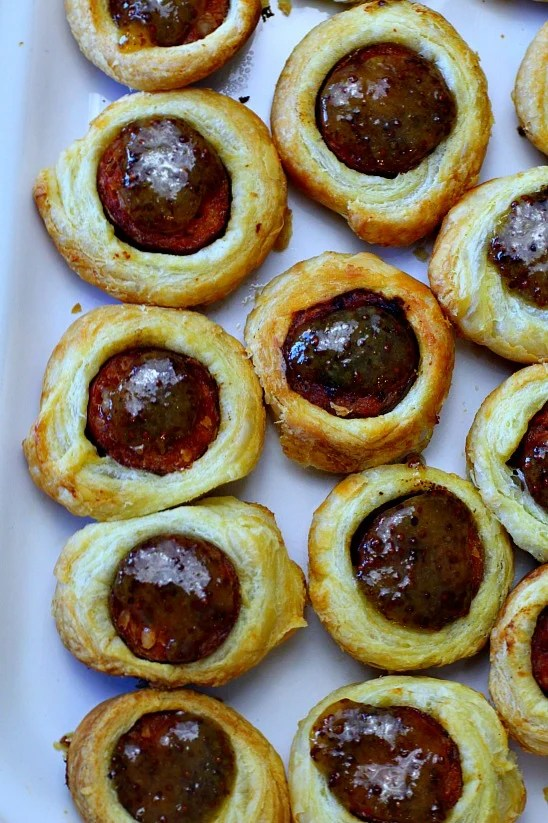 Upscale pigs in blanket appetizer recipe. Sausage in a blanket appetizer recipe.