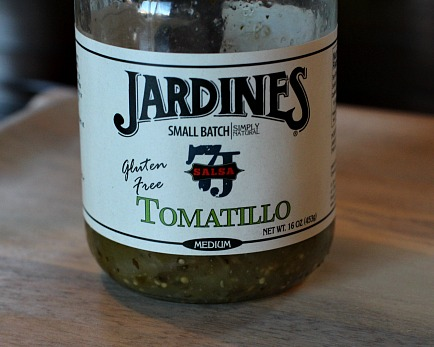 jar of spicy tomatillo sauce for tacos or burritos