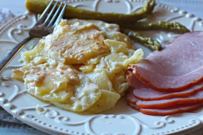Creamy scalloped potatoes and ham.