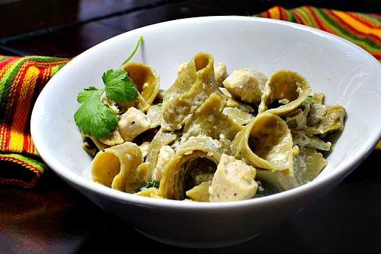 Hatch Green Chile Pasta with Chicken and Cream Sauce