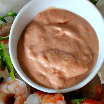 The Broadmoor Hotel French Shrimp Cocktail Sauce. Creamy with creme fraiche and elegant with brandy.
