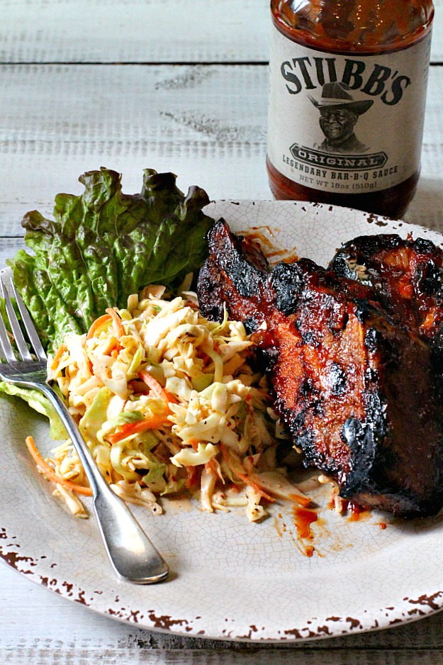 Country Style Pork Ribs with Stubbs Bar-b-que sauce and bbq cole slaw