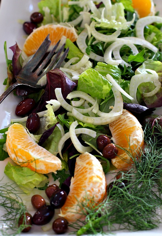 Fennel orange salad with olives.