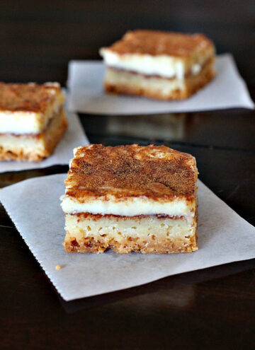 Churros Cheesecake Bars, a wonderful creamy cinnamon treat on a shortbread crust. A great dessert recipe for a Mexican meal.