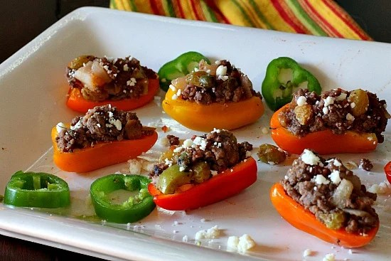 Picadillo Stuffed Mini Bell Peppers. A wonderful little appetizer recipe for those beautiful little mini sweet bell peppers