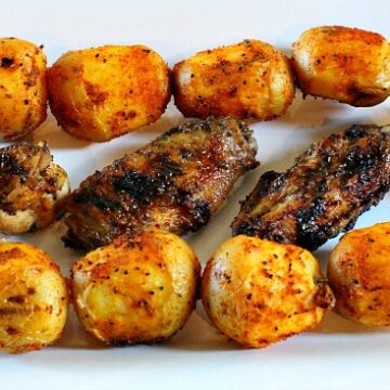 Sweet Black pepper chicken wings and BBQ potatoes for tailgating.