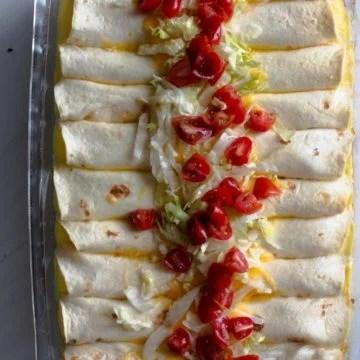 Overnight make ahead breakfast burrito casserole in a 9 x 13 pyrex baking dish