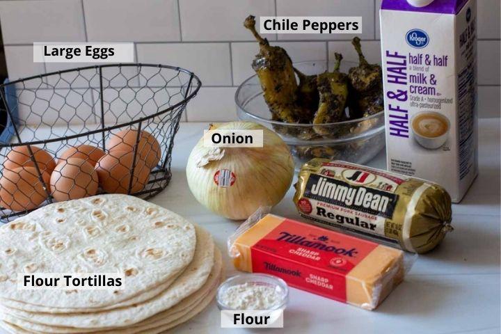 Ingredients to make breakfast burrito casserole