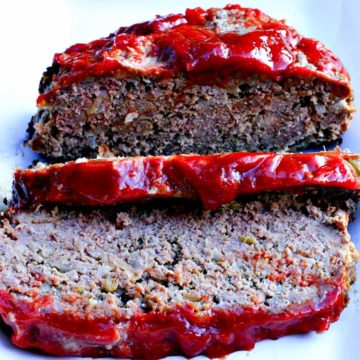 Old fashioned meatloaf recipe with catsup and mustard brown sugar glaze
