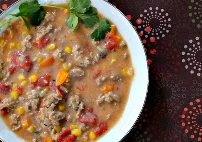 Southwestern Cream of Chicken Soup. Easy and flavorful with some Mexican flavors.