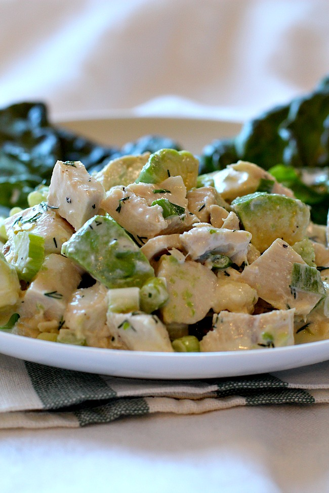 A recipe for avocado chicken salad with a tangy creamy dressing.