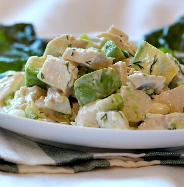 Creamy and fresh chicken salad recipe with avocado. Perfectly tangy. A great recipe for a ladies lunch.