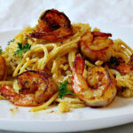 Shrimp and pasta dinner idea. With wild caught American shrimp. Creamy, spicy and succulent.